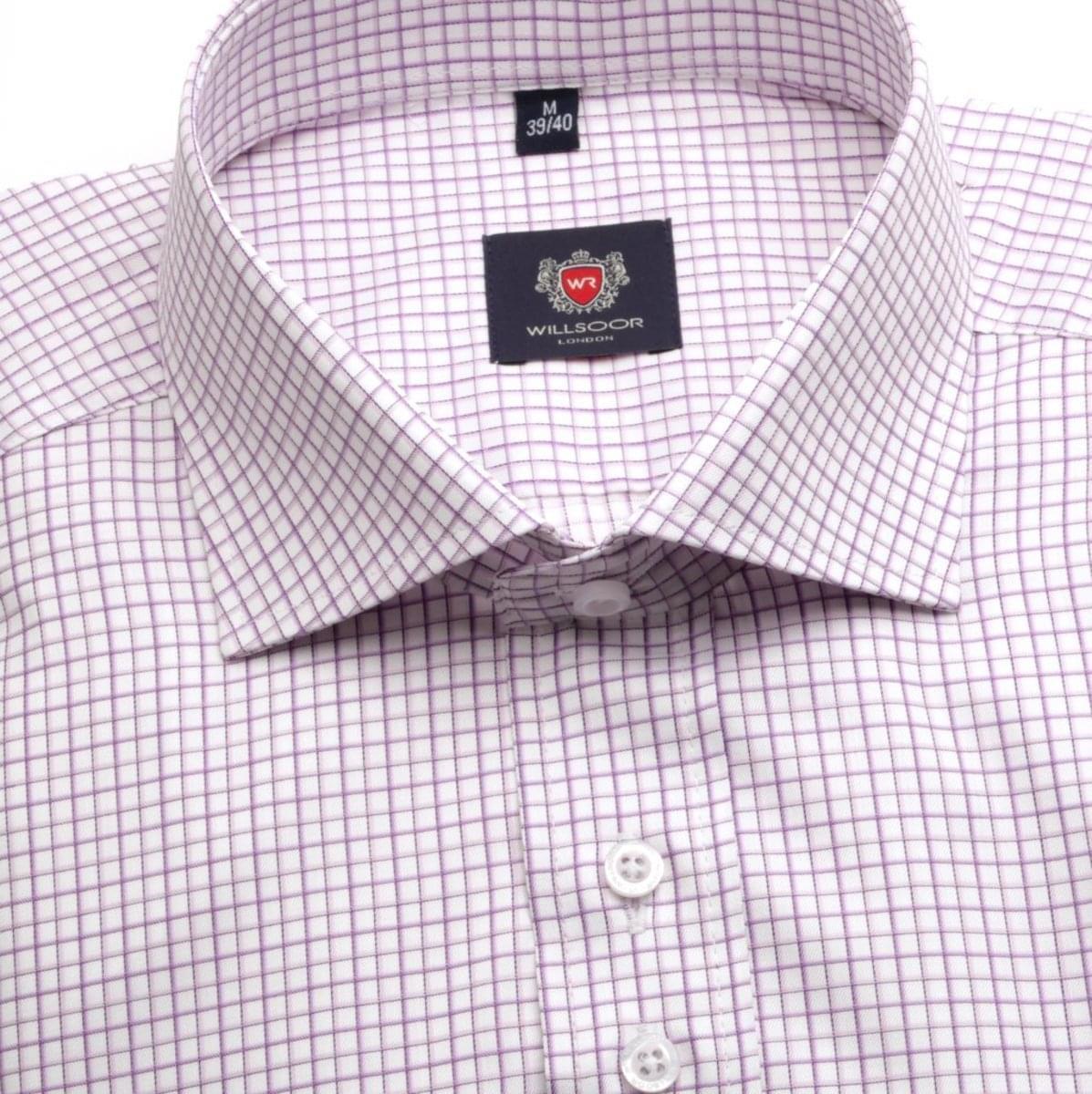 Pánská košile WR London ve fialkové barvě s kostkou (výška 176-182) 5179