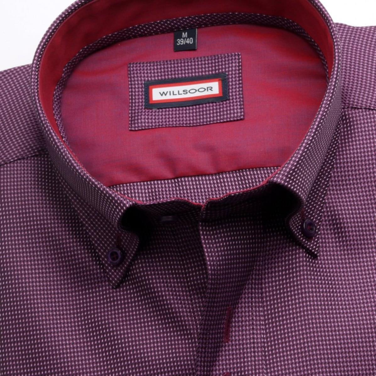 Pánská košile Slim Fit ve fialové barvě s mikro vzorem (výška 176-182) 5440
