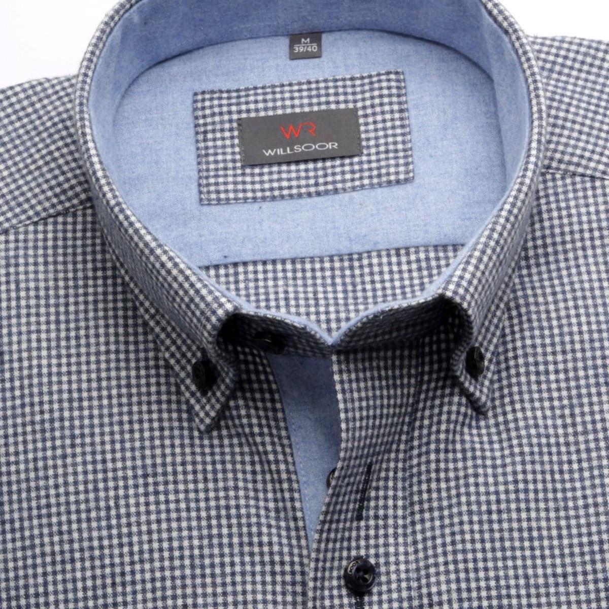 Pánská košile Classic v modré barvě s jemnou kostičkou (výška 164-170 i 188-194) 5582