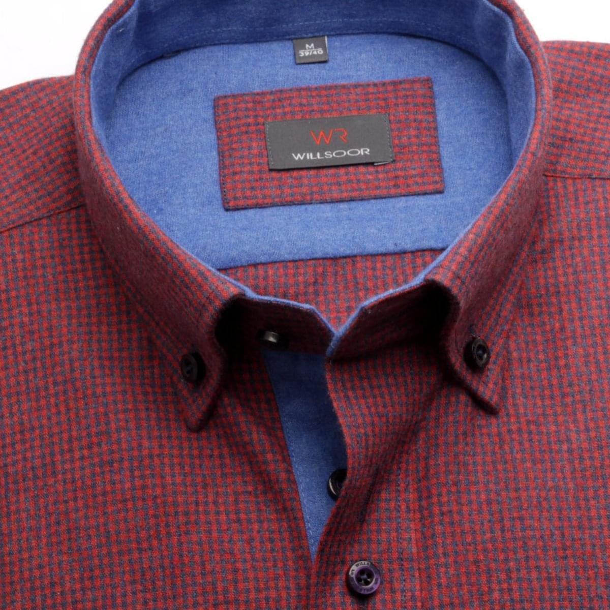 Pánská košile Slim Fit v bordó barvě s jemnou kostičkou (výška 164-170) 5583