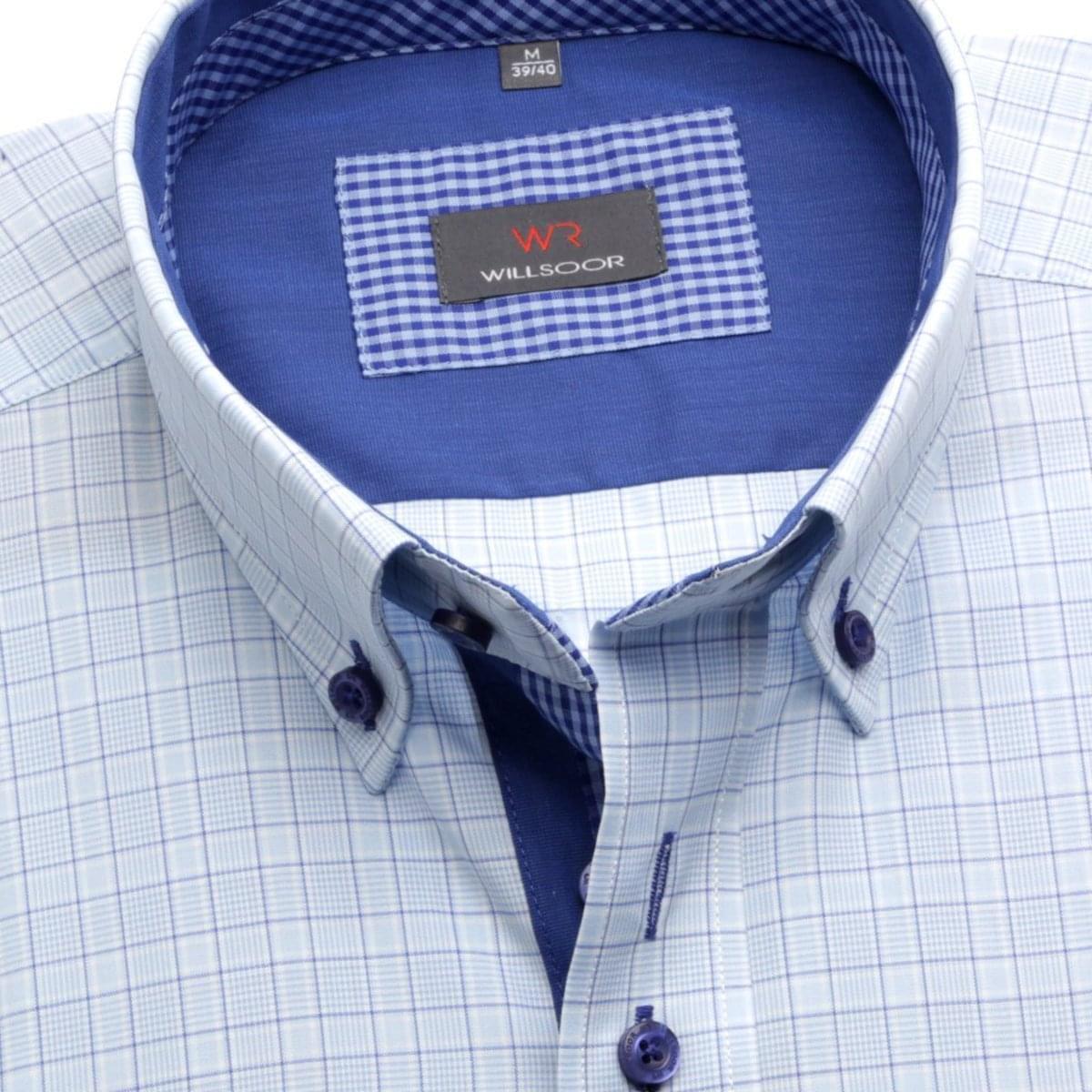 Pánská košile Slim Fit v modré barvě s kostkou (výška 176-182) 5587