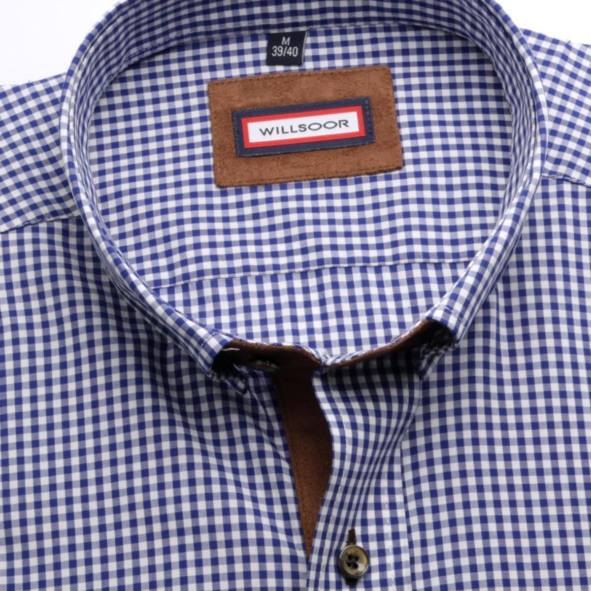 Pánská košile Slim Fit (výška 176-182) 5627 v modré barvě s kostkou