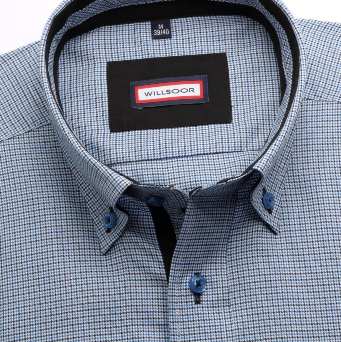 Pánská košile Slim Fit (výška 176-182) 5707 v modré barvě s kostkou