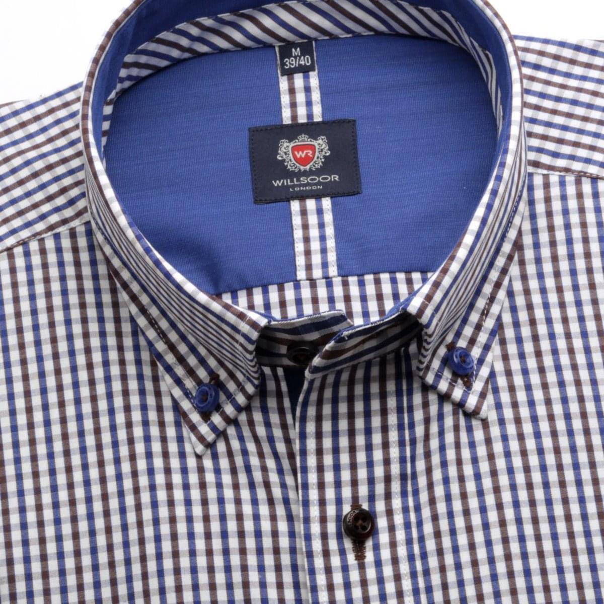 Pánská košile London (výška 176-182) 5716 v bílé barvě s barevnou kostkou
