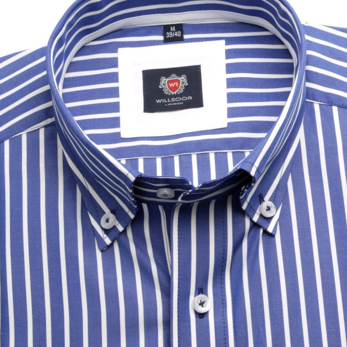 Pánská košile London (výška 176-182) 5822 v modré barvě s proužkem