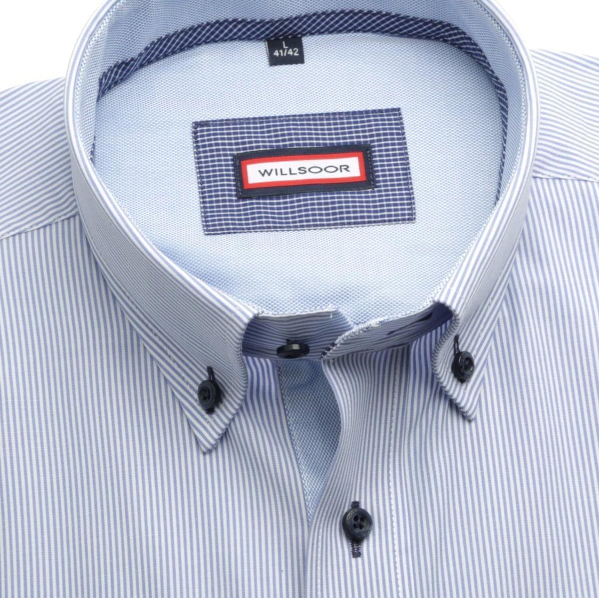 Pánská košile Slim Fit (výška 188-194) 5905 v modré barvě s proužky