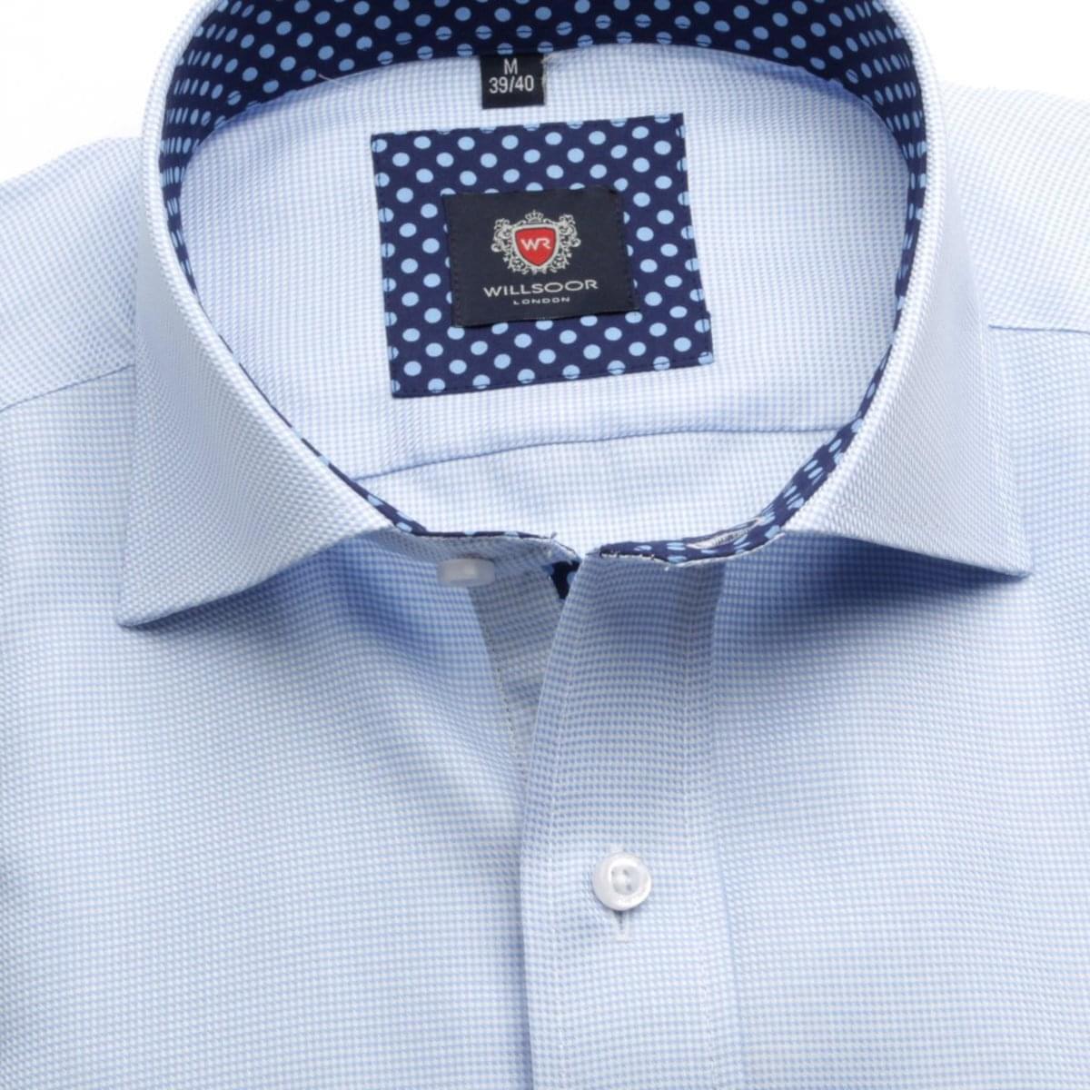 Pánská slim fit košile London (výška 176-182) 6031 v modré barvě s úpravou Easy Care