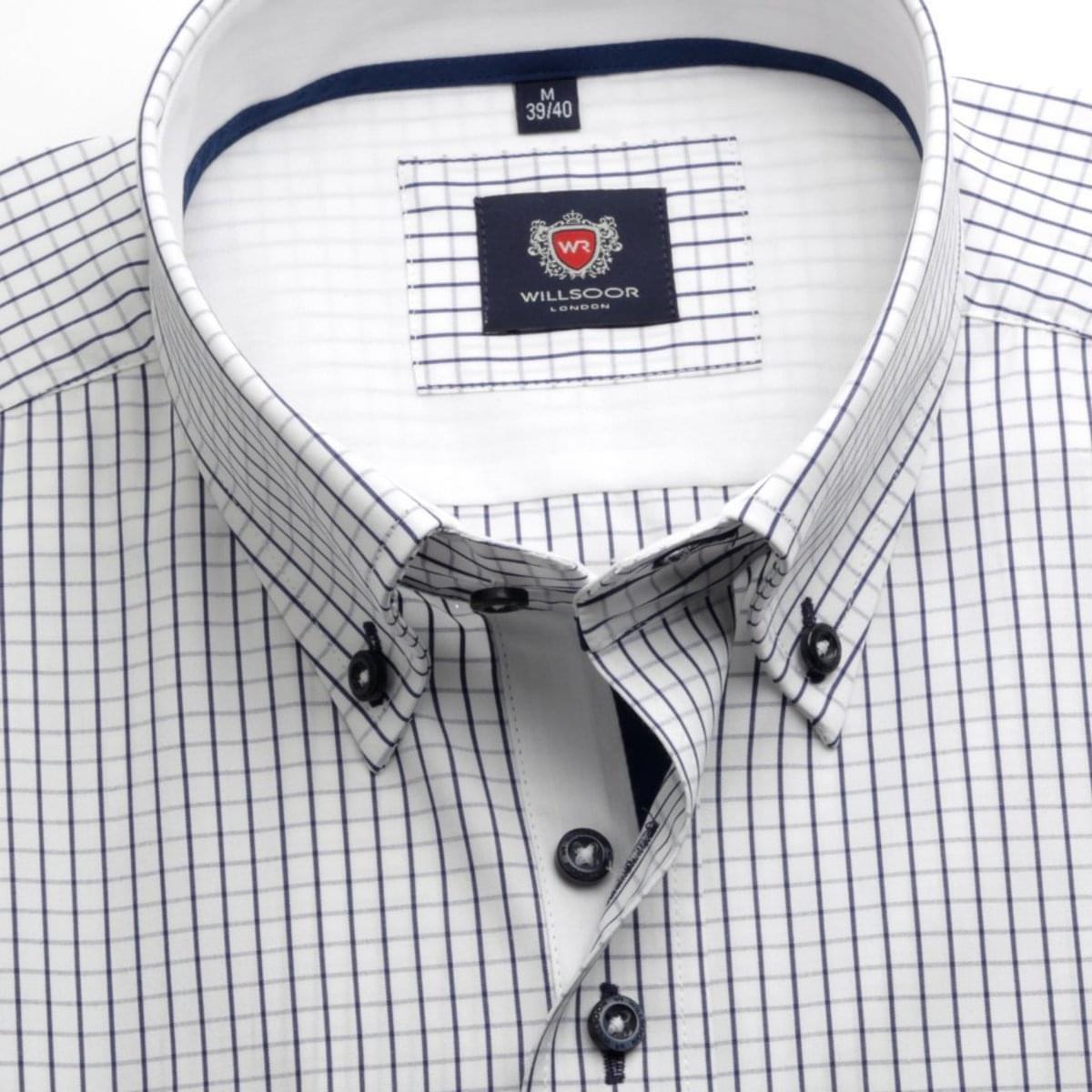 Pánská košile WR London v bílé barvě s kostkou (výška 164-170) 4689 164-170 / XL (43/44) 176-182 / XL (43/44)