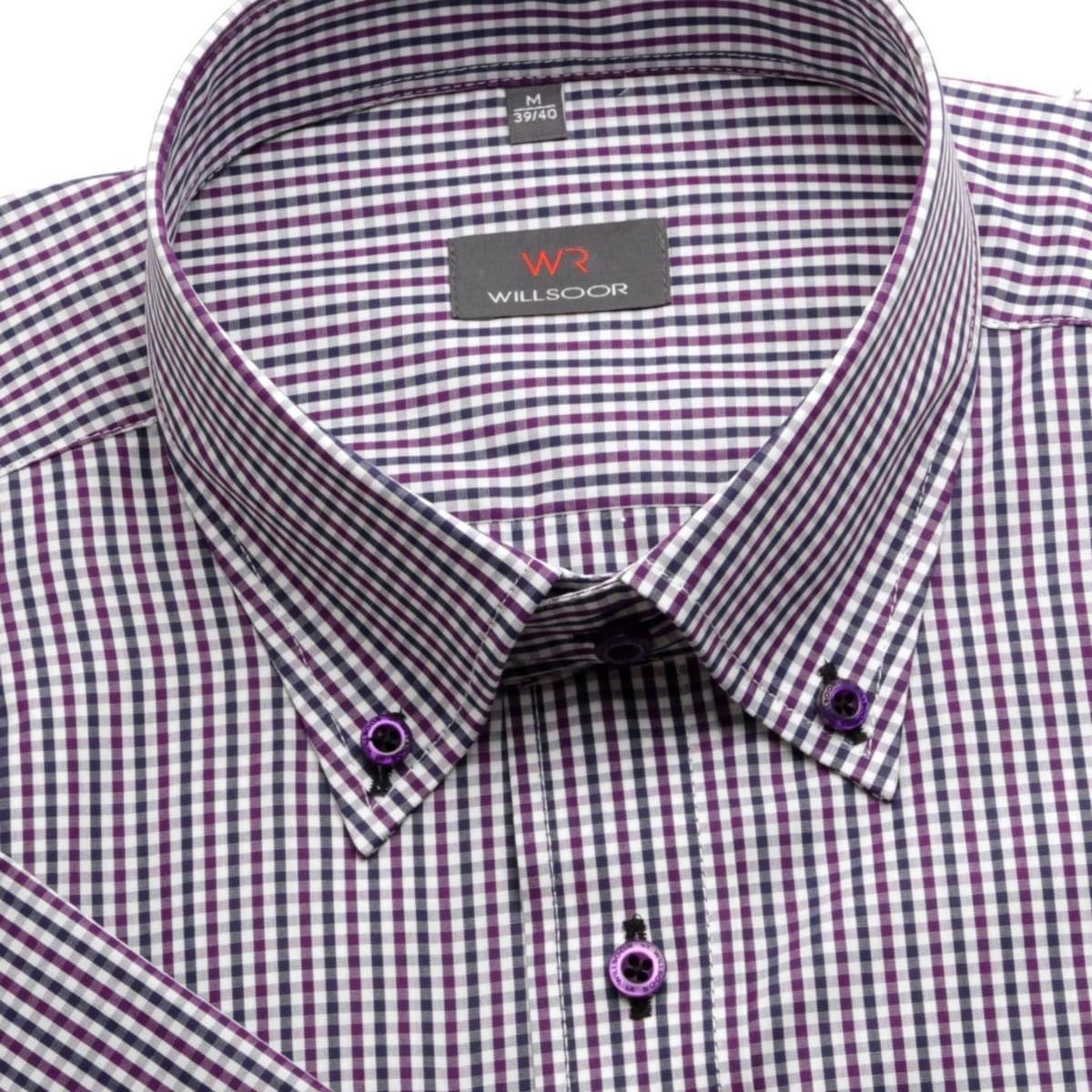 Pánská košile WR Slim Fit s krátkým rukávem a drobnou kostkou fialové a modré barvy (výška 176-182) 176-182 / M (39/40)