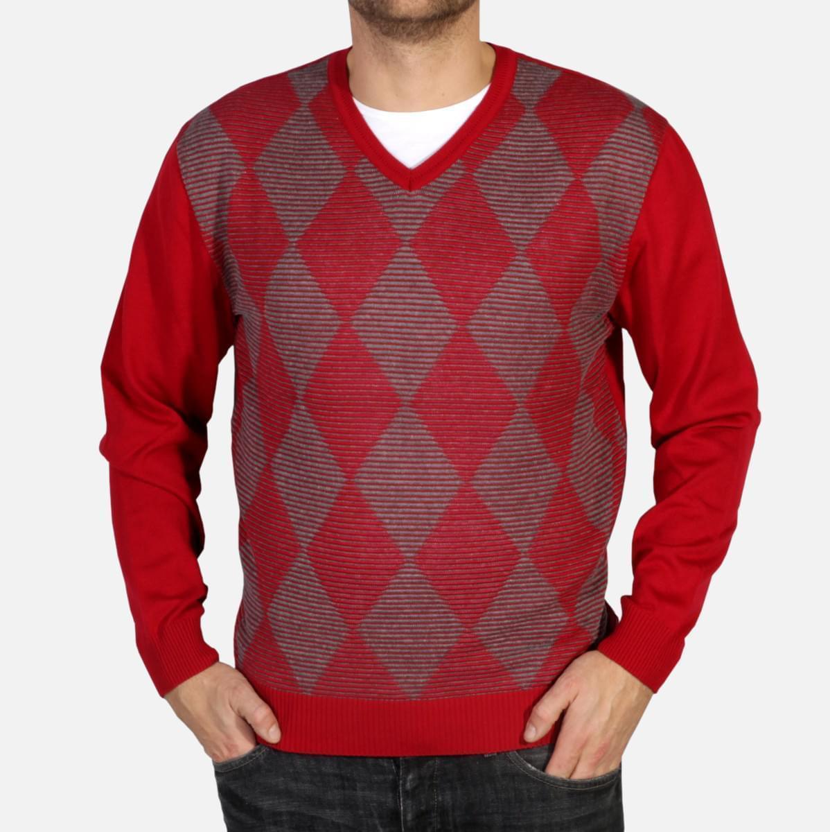 Pánský pulovr Willsoor 4874 v červené barvě s kosočtverci M