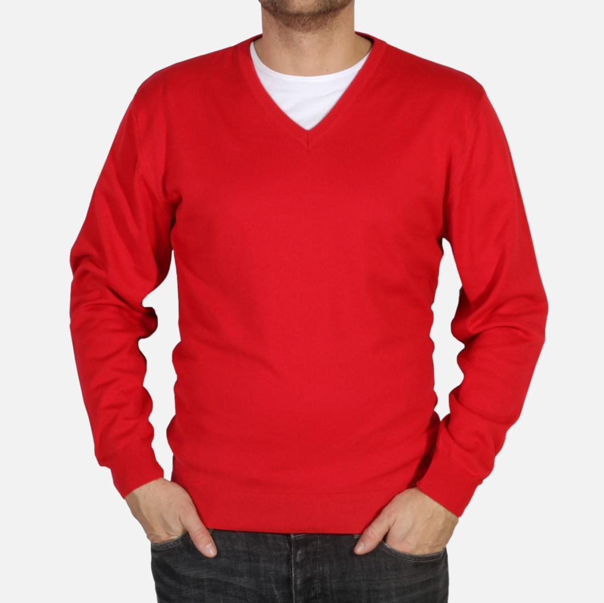 "Pánský pulover Willsoor 4879 v červené barvě s výstřihem do ""V"" M"