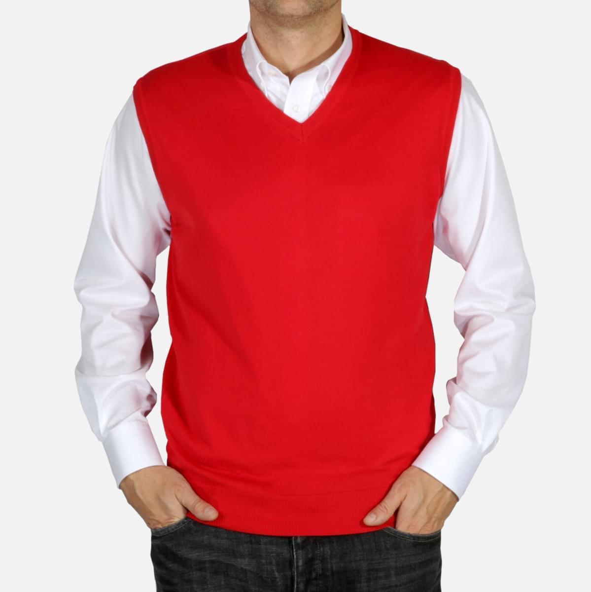 Pánská pletená vesta Willsoor 5027 v červené barvě M