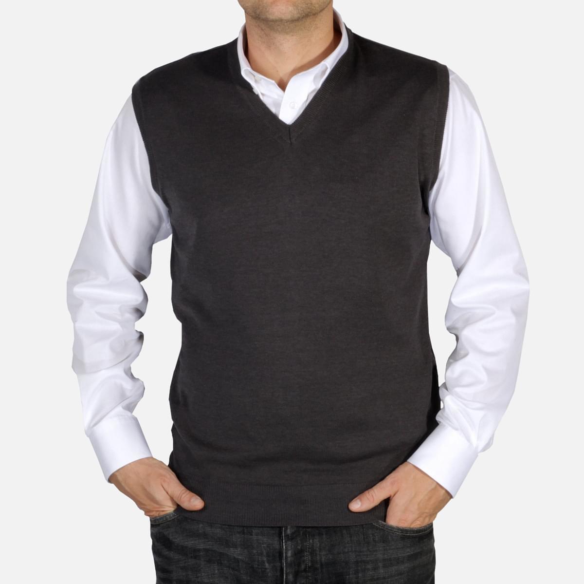 Pánská pletená vesta Willsoor 5028 v šedé barvě M