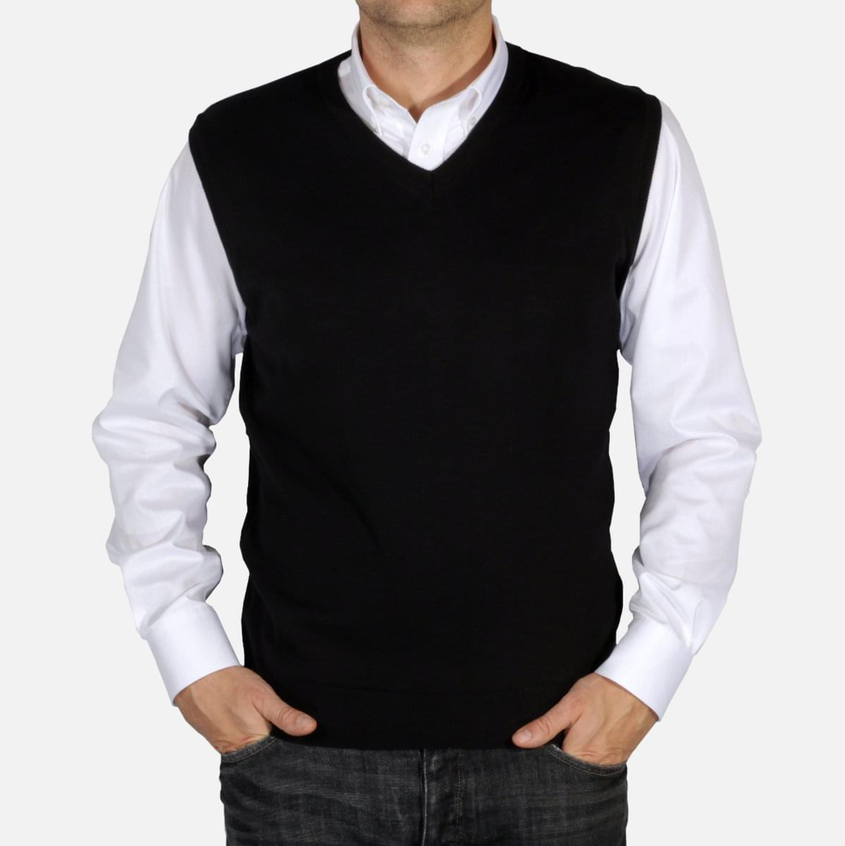Pánská pletená vesta Willsoor 5029 v černé barvě L