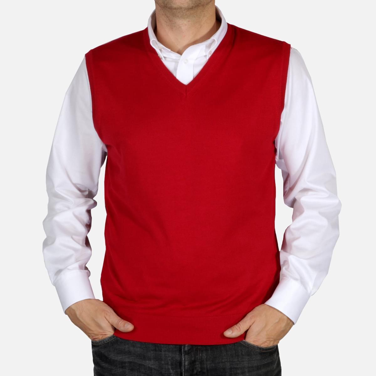 Pánská pletená vesta Willsoor 5030 v bordó barvě M