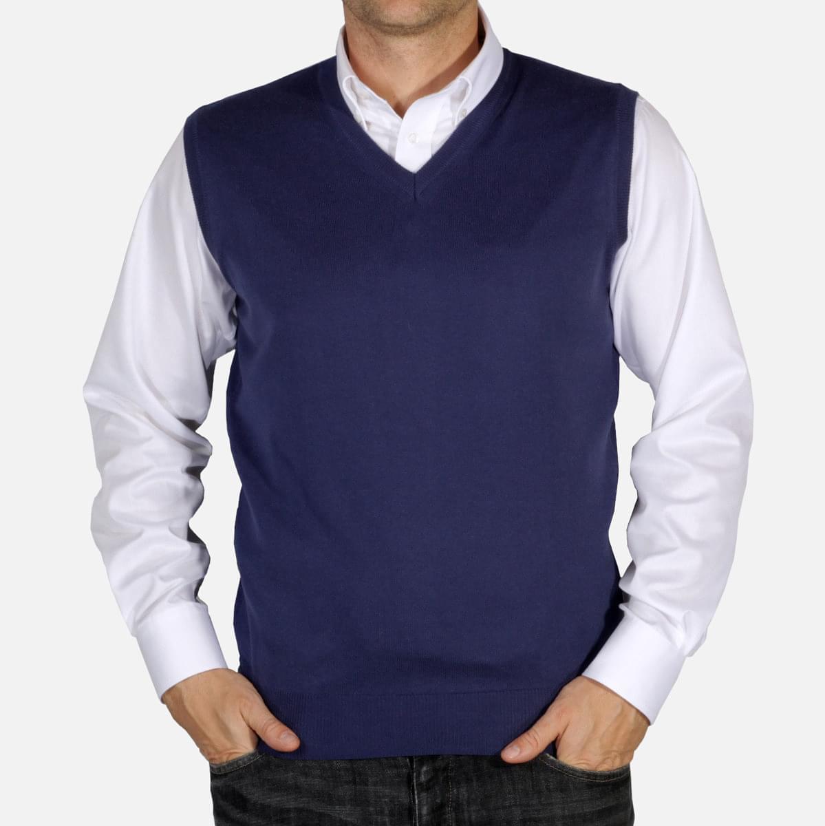 Pánská pletená vesta Willsoor 5031 v modré barvě L