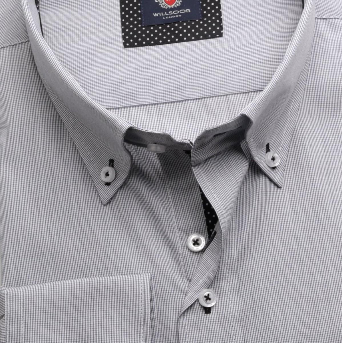 Pánská košile v bílé barvě s drobnou černou kostkou WR London (výška 188-194) 5112 188-194 / 47/48