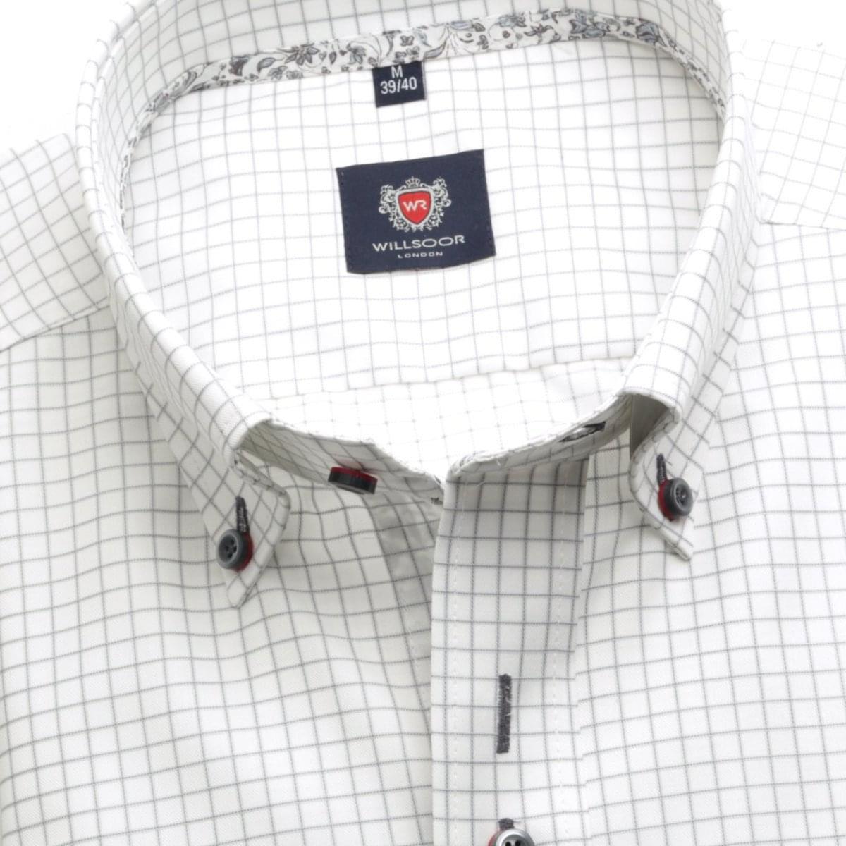 Pánská košile London v bílé barvě s kostkou (výška 176-182) 5438 176-182 / XL (43/44)