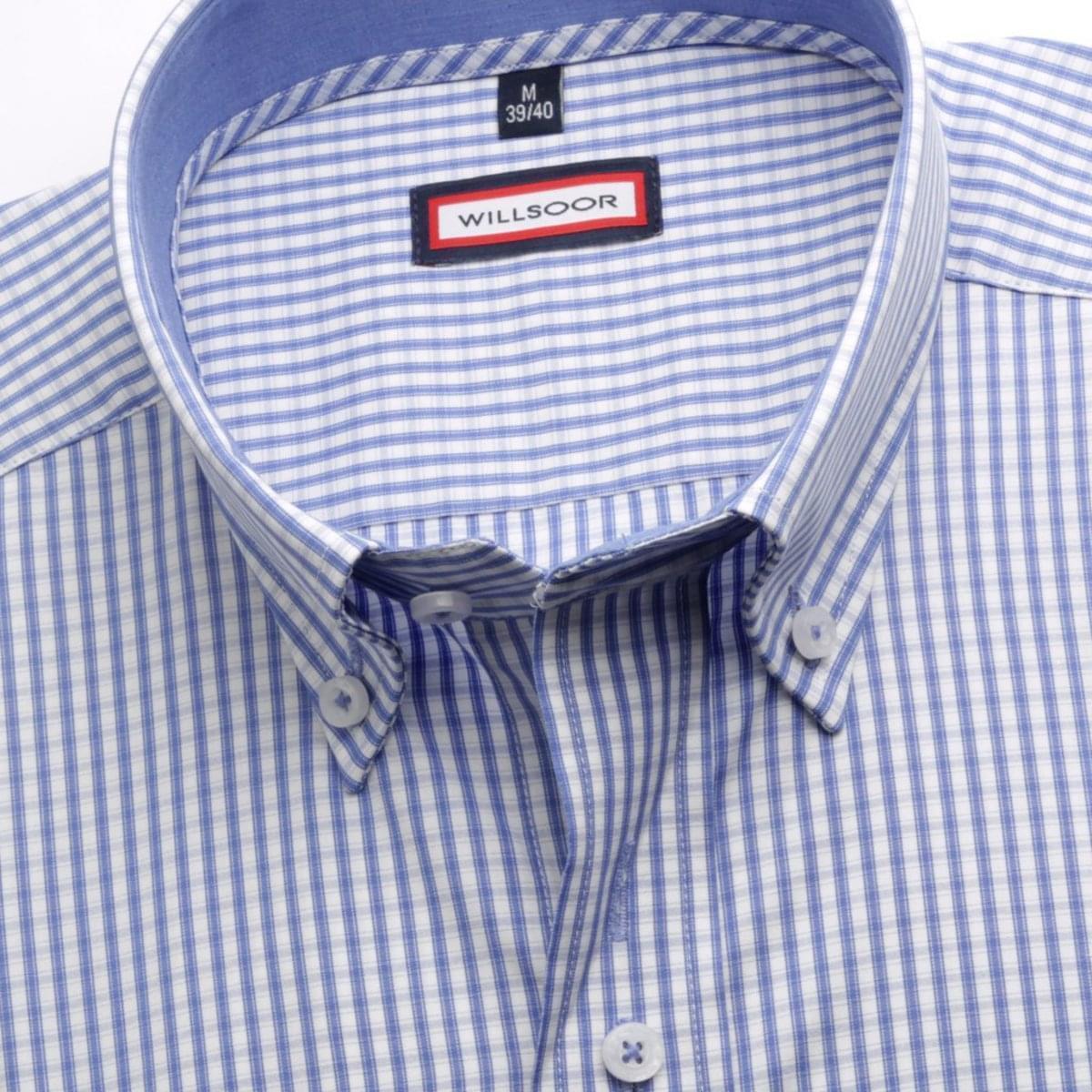 Pánská košile Classic v bílé barvě s kostkou (výška 164-170) 5454 164-170 / L (41/42)