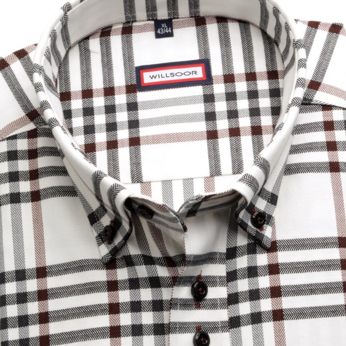 Pánská košile Classic v bílé barvě s kostkou (výška 188-194) 5544 188-194 / XL (43/44)