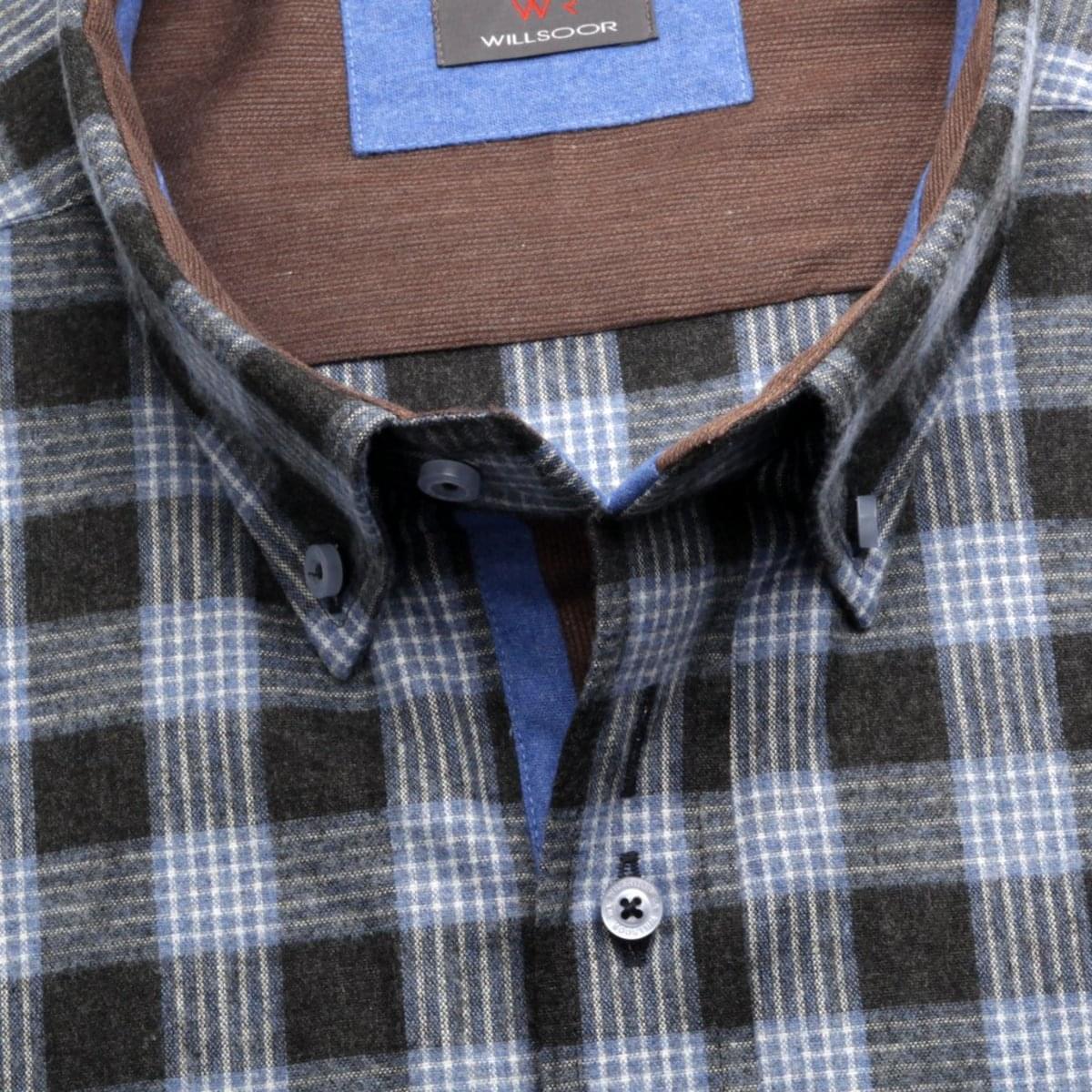 Pánská košile Classic v černé barvě s kostkou (výška 188-194) 5585 188-194 / 47/48