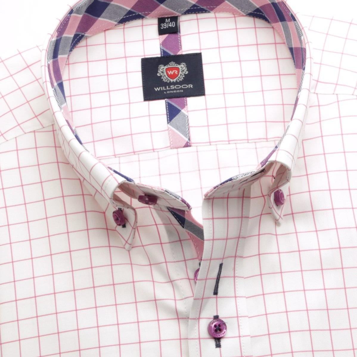 Pánská košile London v bílé barvě s růžovou kostkou (výška 176-182) 5592 176-182 / XXL (45/46)