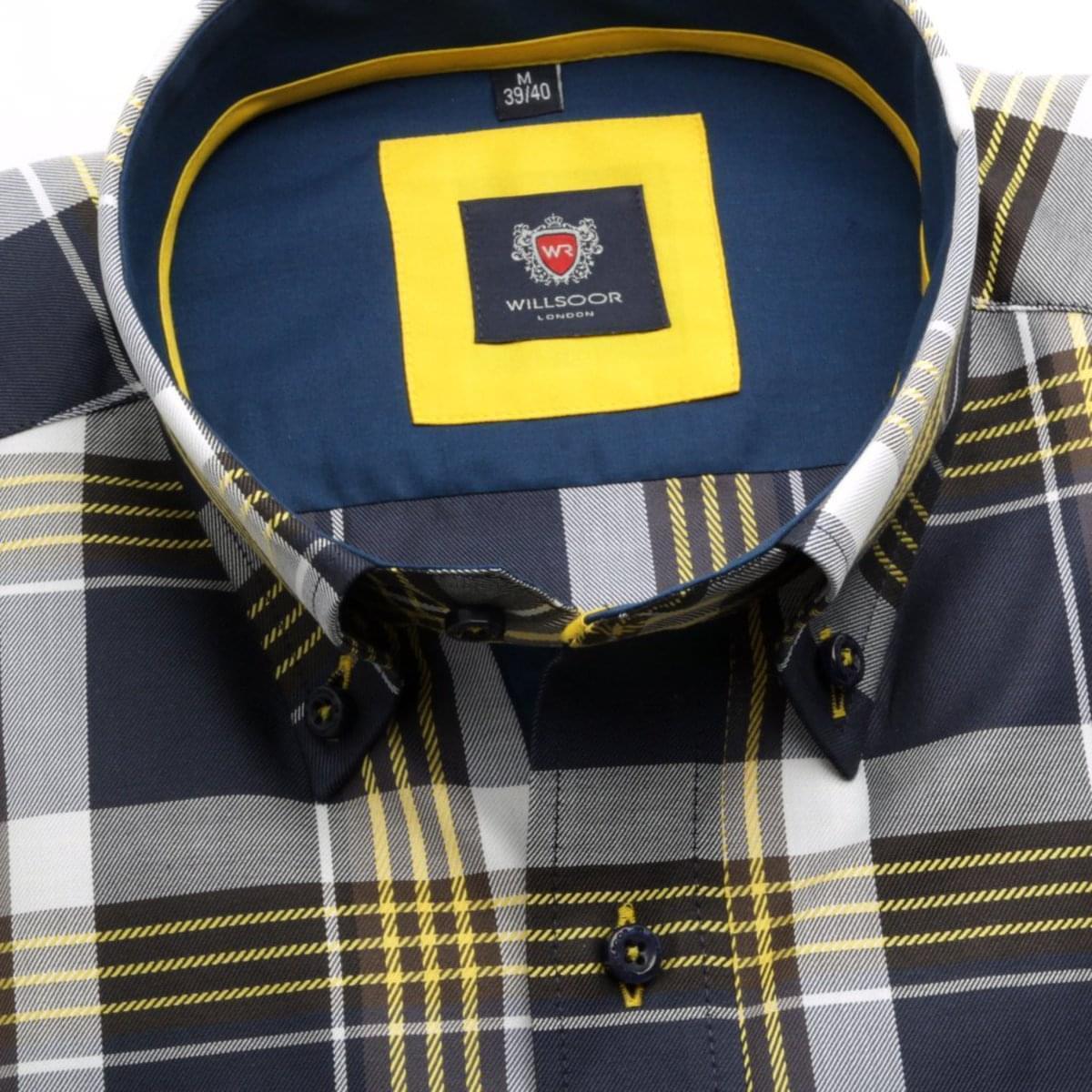 Pánská košile London (výška 176-182) 5815 s barevnou kostkou 176-182 / XL (43/44)