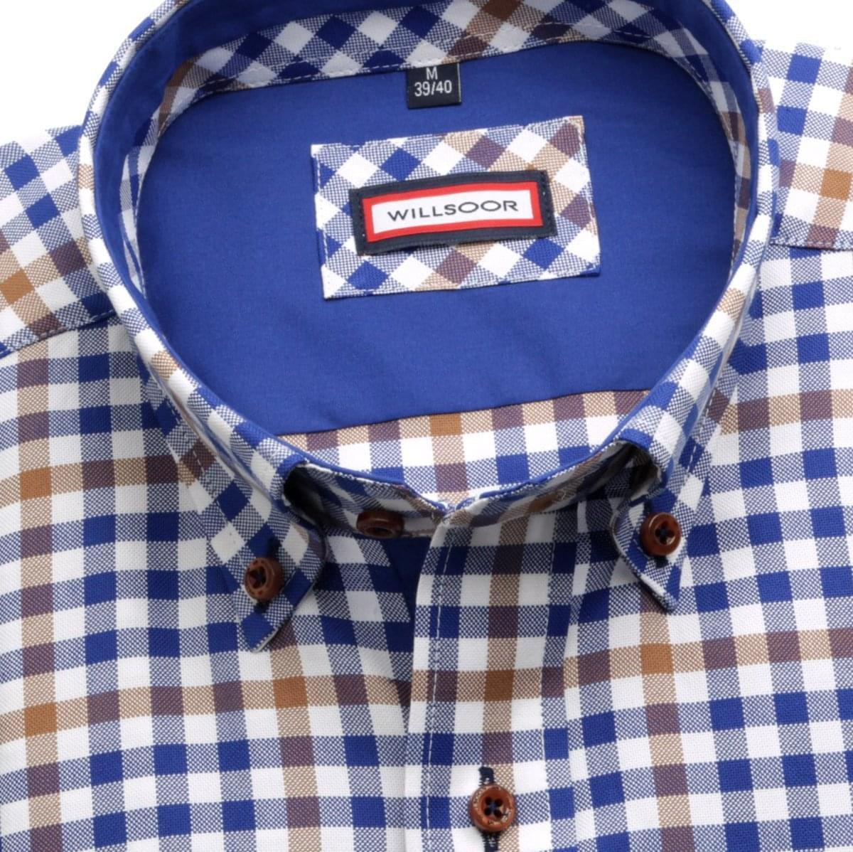 Pánská košile Slim Fit (výška 176-182) 5824 s barevnou kostkou 176-182 / XL (43/44)