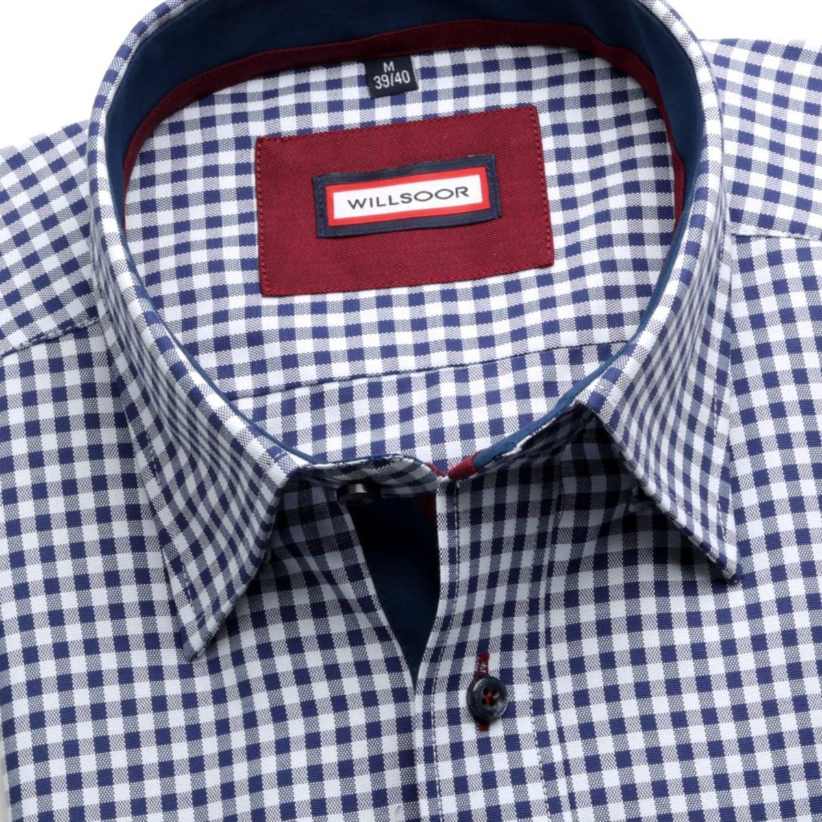 Pánská košile Slim Fit (výška 176-182) 5838 v bílé barvě s kostkou 164-170 / XL (43/44) 176-182 / XL (43/44)