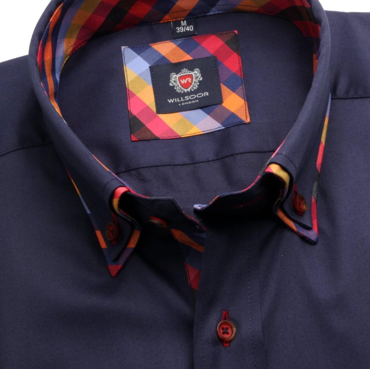 Pánská košile London (výška 176-182) 5927 v modré barvě s formulí Easy Care 176-182 / M (39/40)