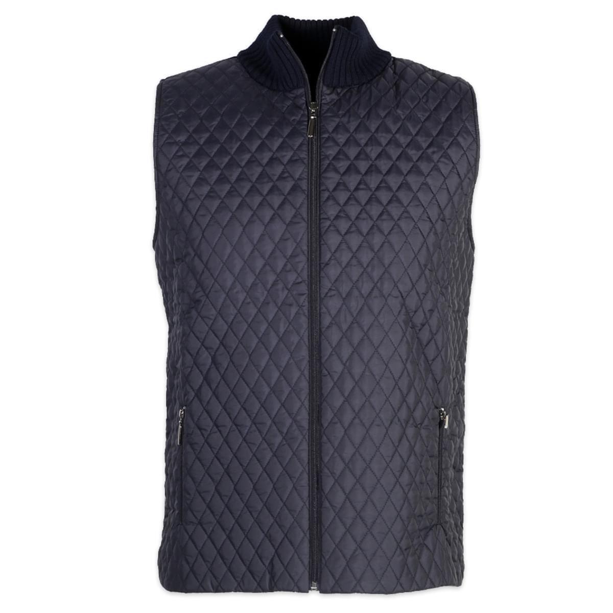 Pánská prošívaná vesta Willsoor 6013 ve tmavě modré barvě XL