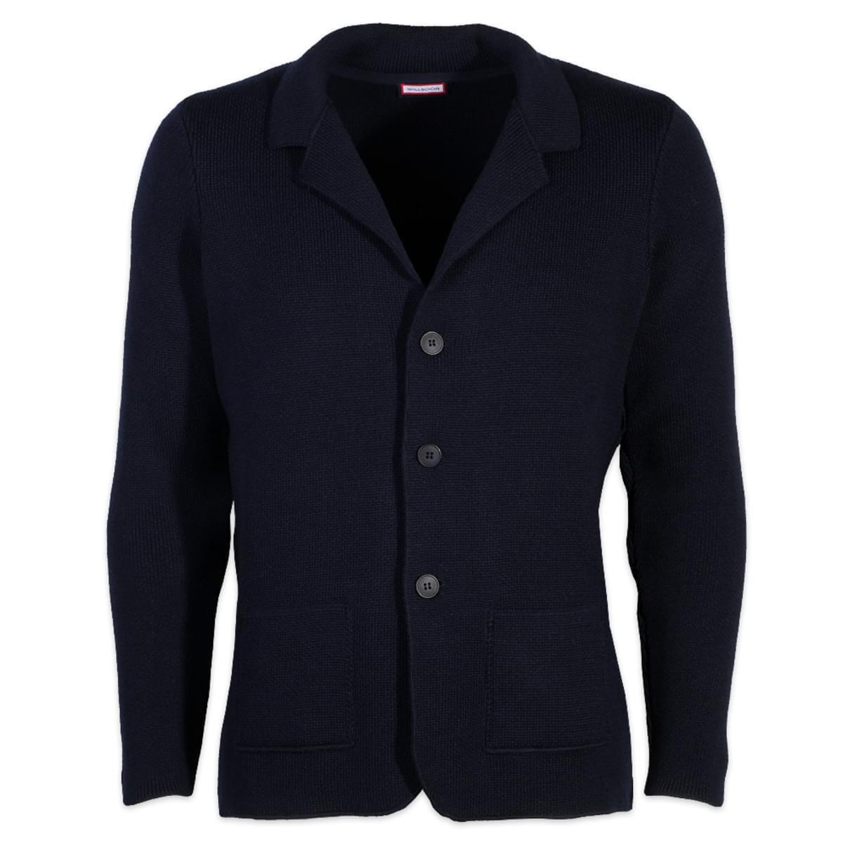 Pánský svetr Willsoor 6025 na knoflíky ve tmavě modré barvě XXL