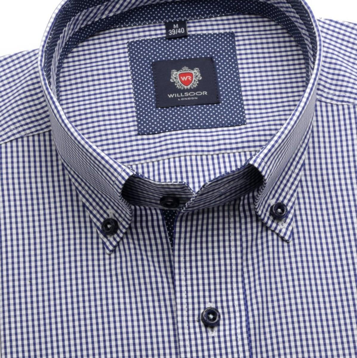 Pánská klasická košile London (výška 188-194) 6077 s bílo-modrou kostkou s formulí Easy Care 188-194 / L (41/42)