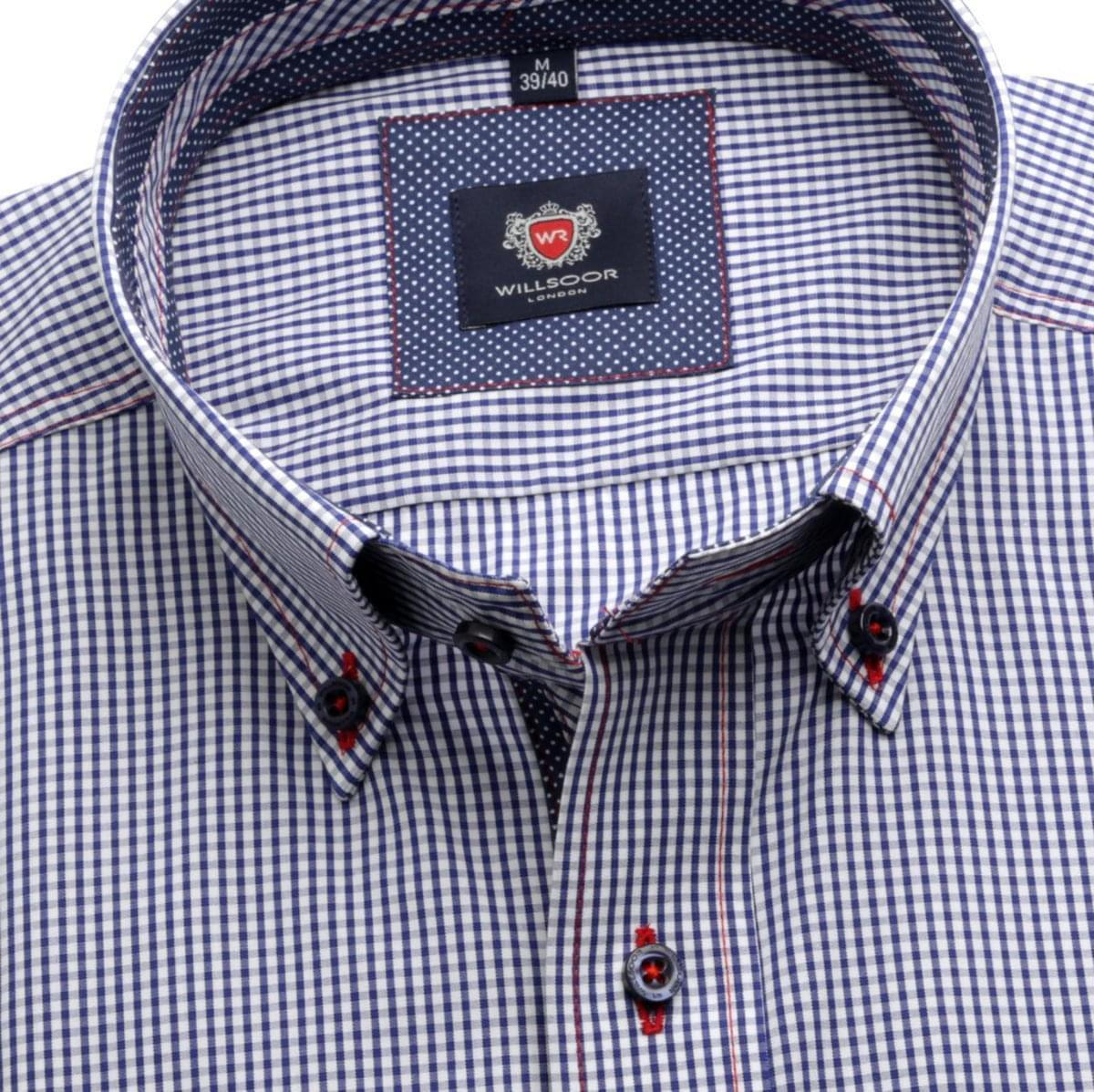 Pánská slim fit košile London (výška 176-182) 6078 s bílo-modrou kostkou a formulí Easy Care 176-182 / XL (43/44)