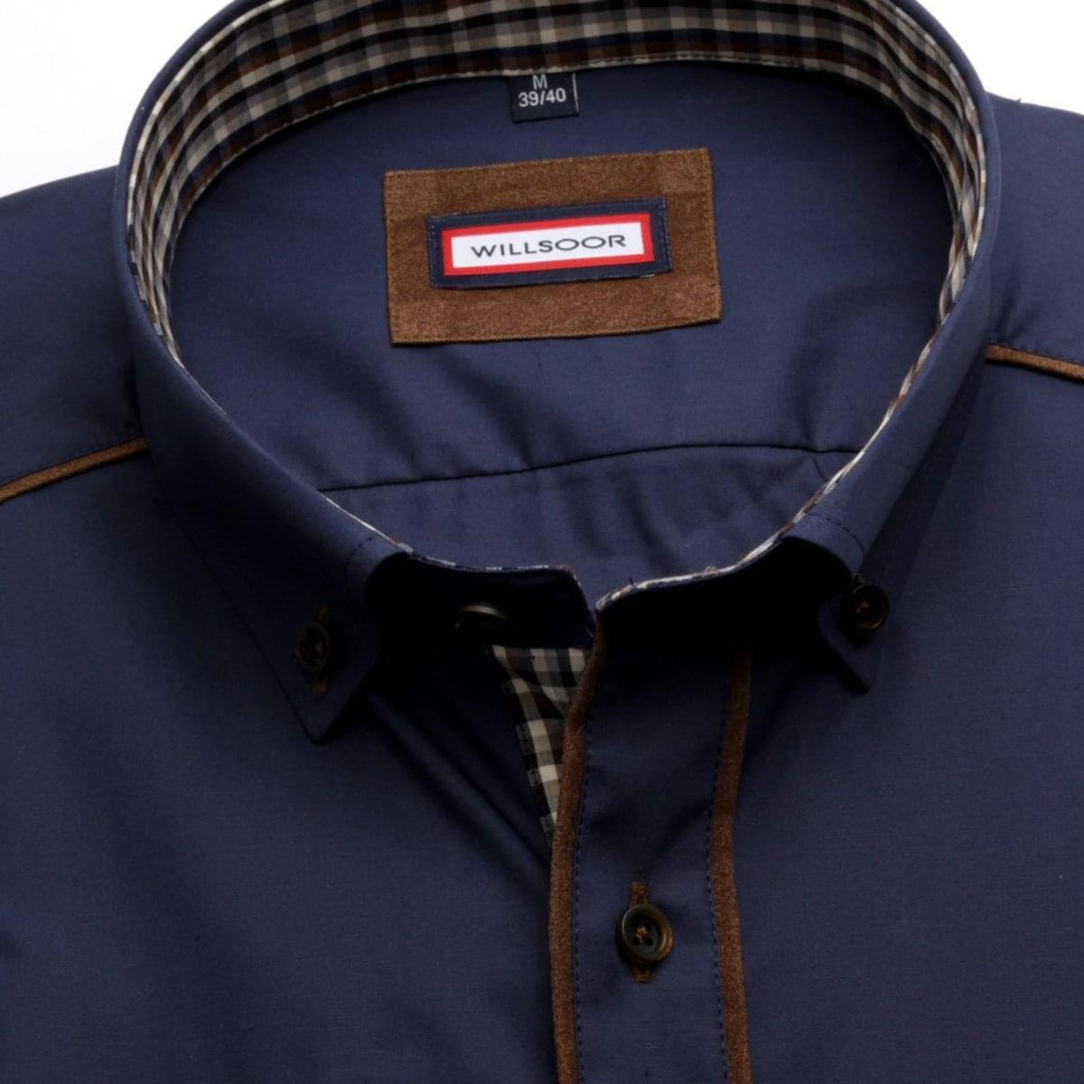 Pánská košile Slim Fit (výška 176-182) 6082 ve tmavě modré barvě s formulí Easy Care 176-182 / L (41/42)