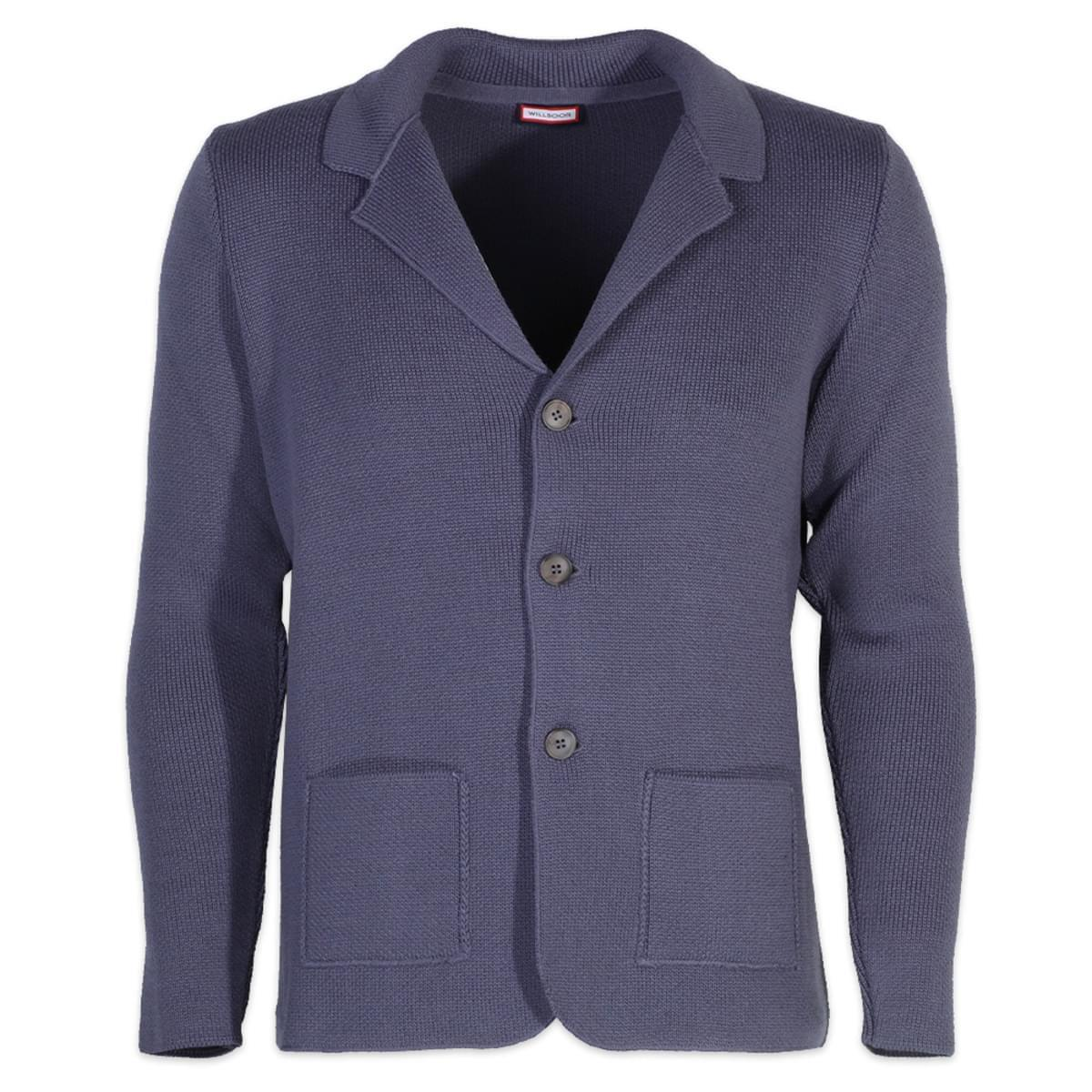 Pánský svetr na knoflíky Willsoor 6108 v modré barvě XL
