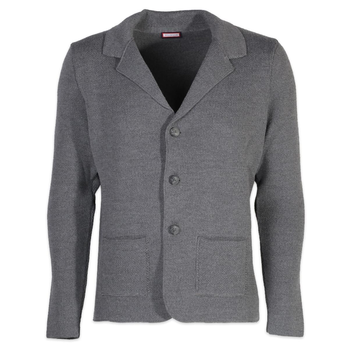 Pánský svetr na knoflíky Willsoor 6110 v šedé barvě L