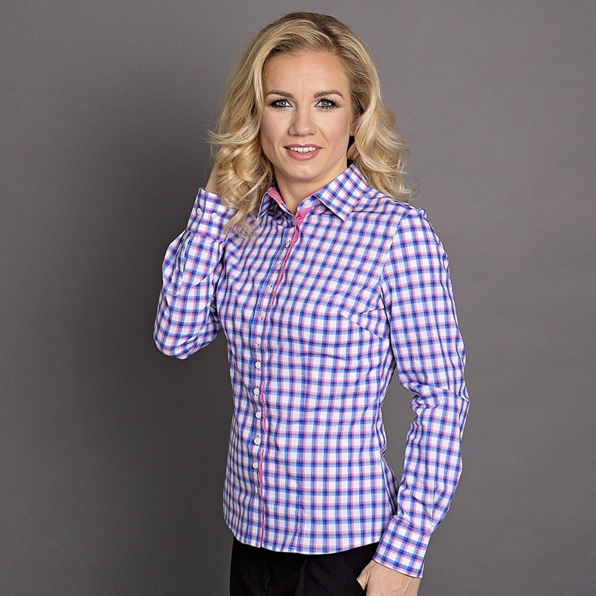Dámská košile Willsoor 6174 v bílé barvě s kostkou v růžové a modré barvě 40