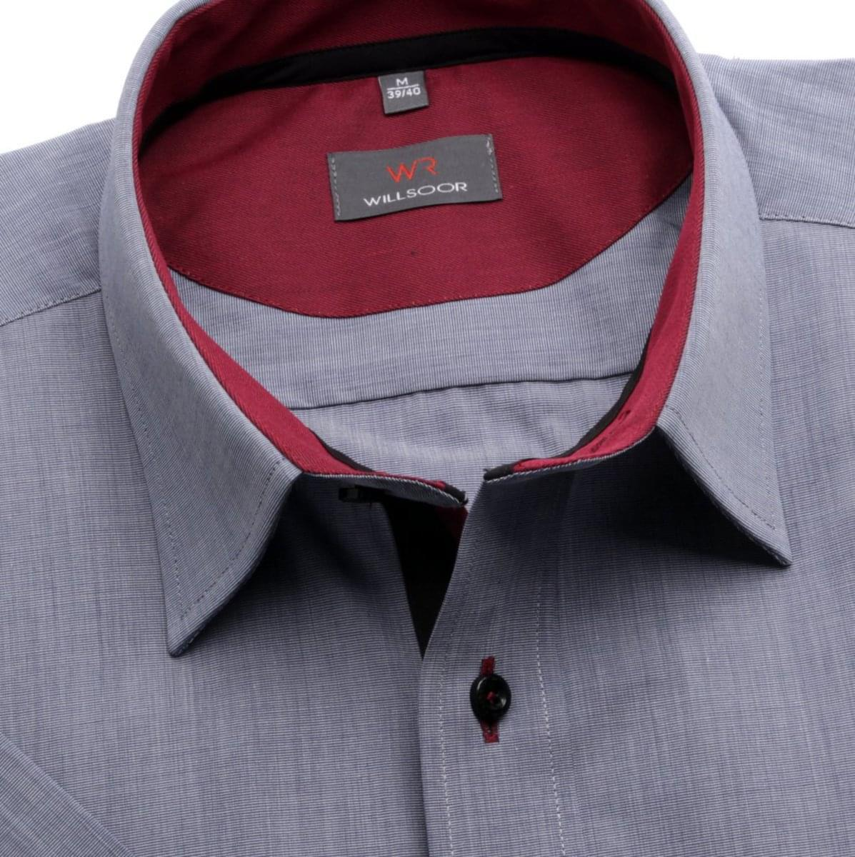 Pánská slim fit košile (výška 176-182) 6381 v šedé barvě s formulí Easy Care 176-182 / L (41/42)