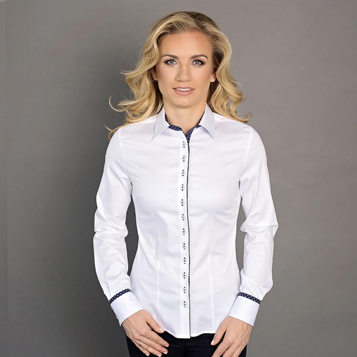 Dámská košile Willsoor 6400 v bílé barvě s klasickým límečkem 34