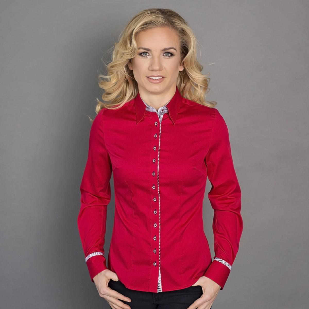Dámská košile Willsoor 6404 v červené barvě 42