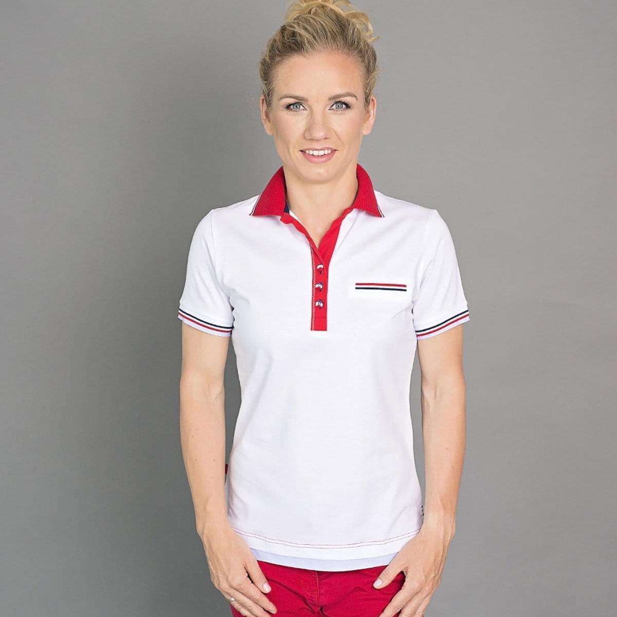 Dámské polo tričko 6503 v bílé barvě s červeným límečkem 34