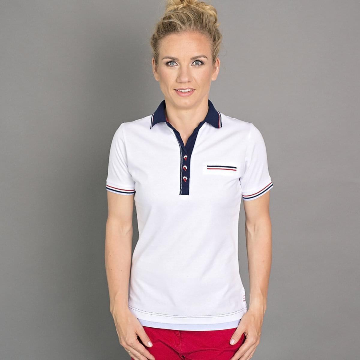 Dámské polo tričko 6504 v bílé barvě s modrým límečkem 40