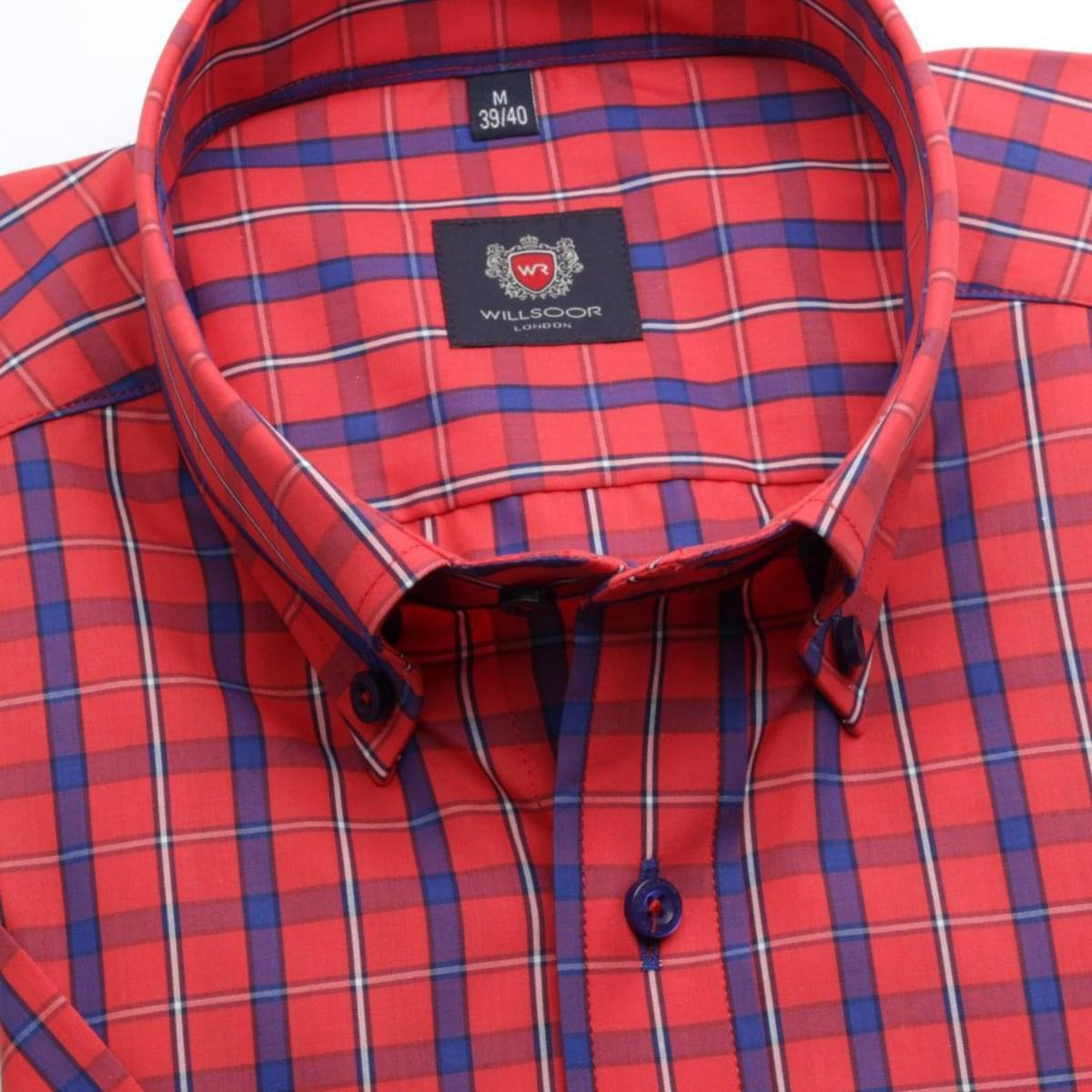 Pánská klasická košile London (výška 176-182) 6561 v červené barvě s formulí Easy Care 176-182 / L (41/42)