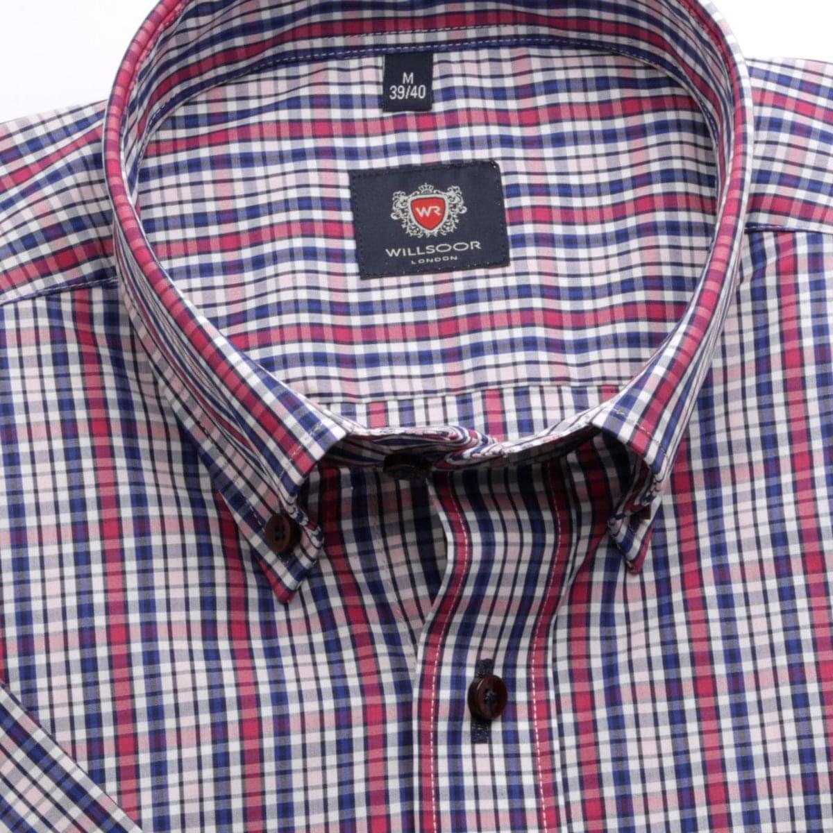Pánská klasická košile London (výška 176-182) 6563 s barevnou kostkou a formulí Easy Care 176-182 / XL (43/44)