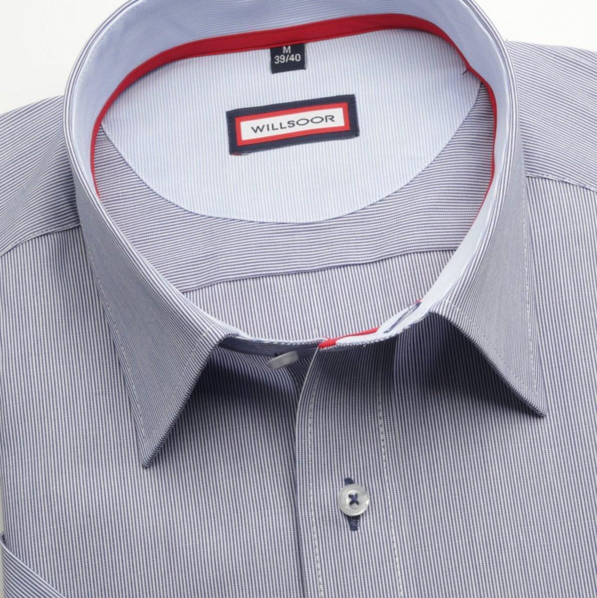 Pánská slim fit košile (výška 176-182) 6584 s modrým proužkem a formulí Easy Care 176-182 / M (39/40)