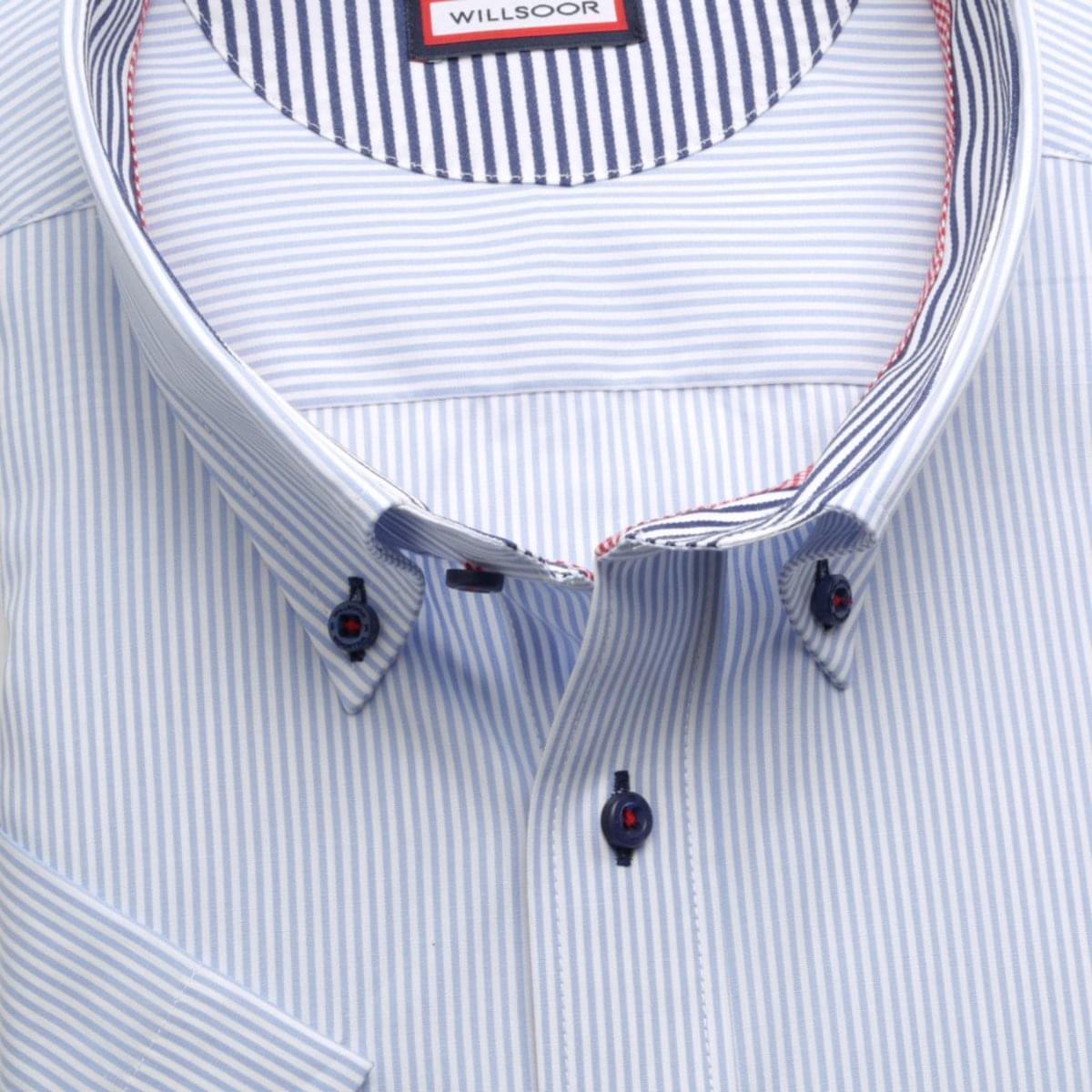 Pánská klasická košile (výška 176-182) 6603 s jemným modrým proužkem a formulí Easy Care 176-182 / 51/52