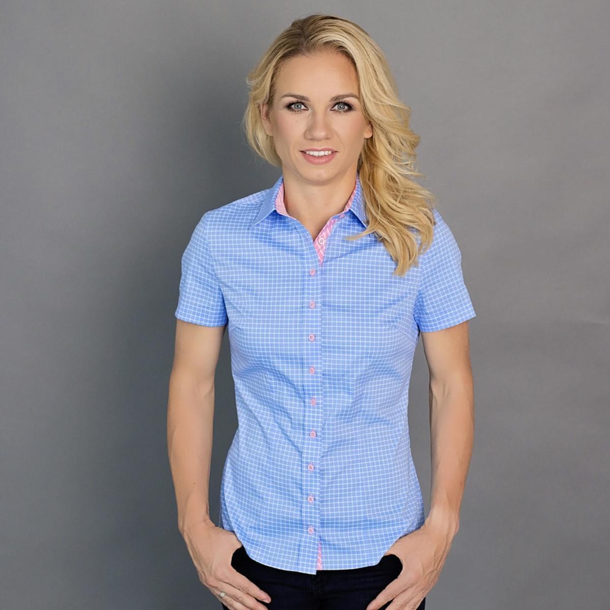 Dámská košile Willsoor 6647 v modré barvě s krátkým rukávem 34