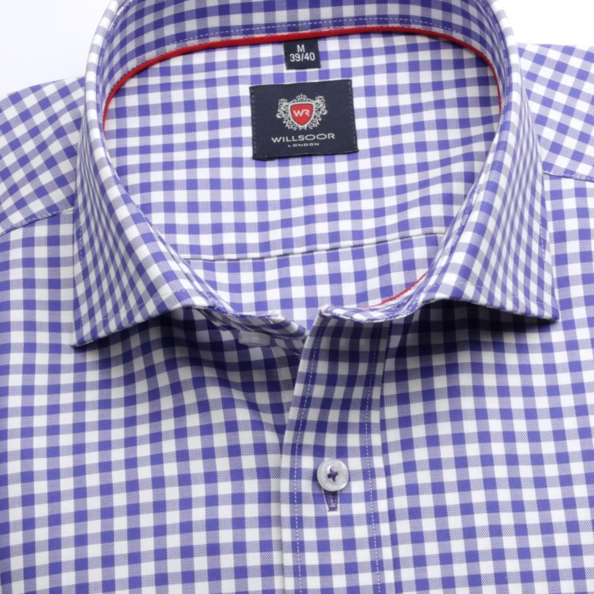 Pánská klasická košile London (výška 188-194) 6691 s barevnou kostkou a formulí Easy Care 188-194 / XL (43/44)