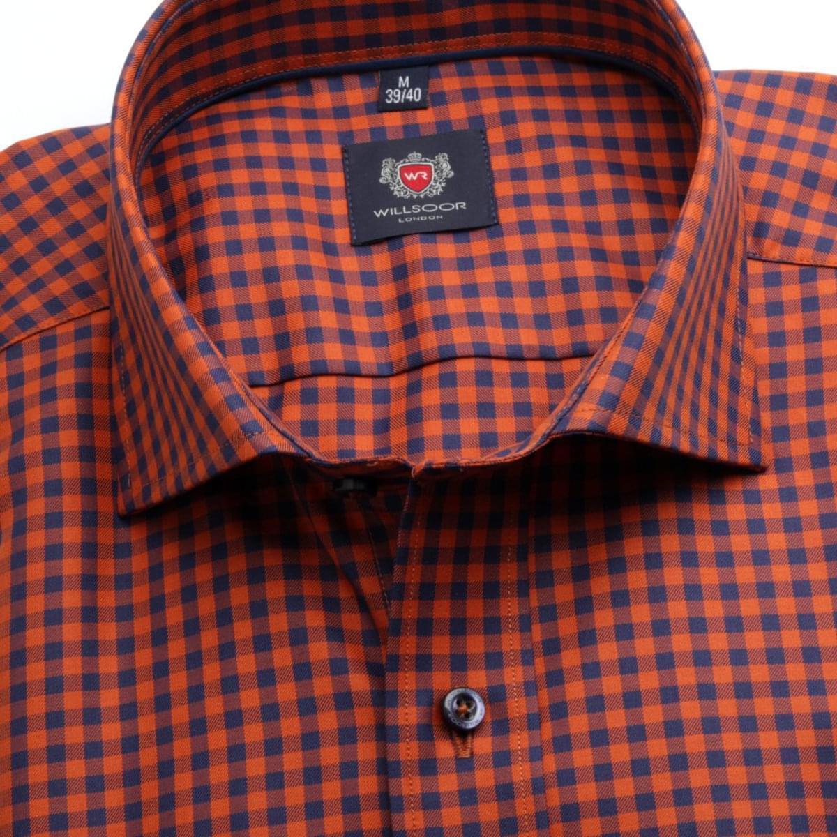 Pánská klasická košile London (výška 188-194) 6695 s barevnou kostkou a formulí Easy Care. 188-194 / XL (43/44)